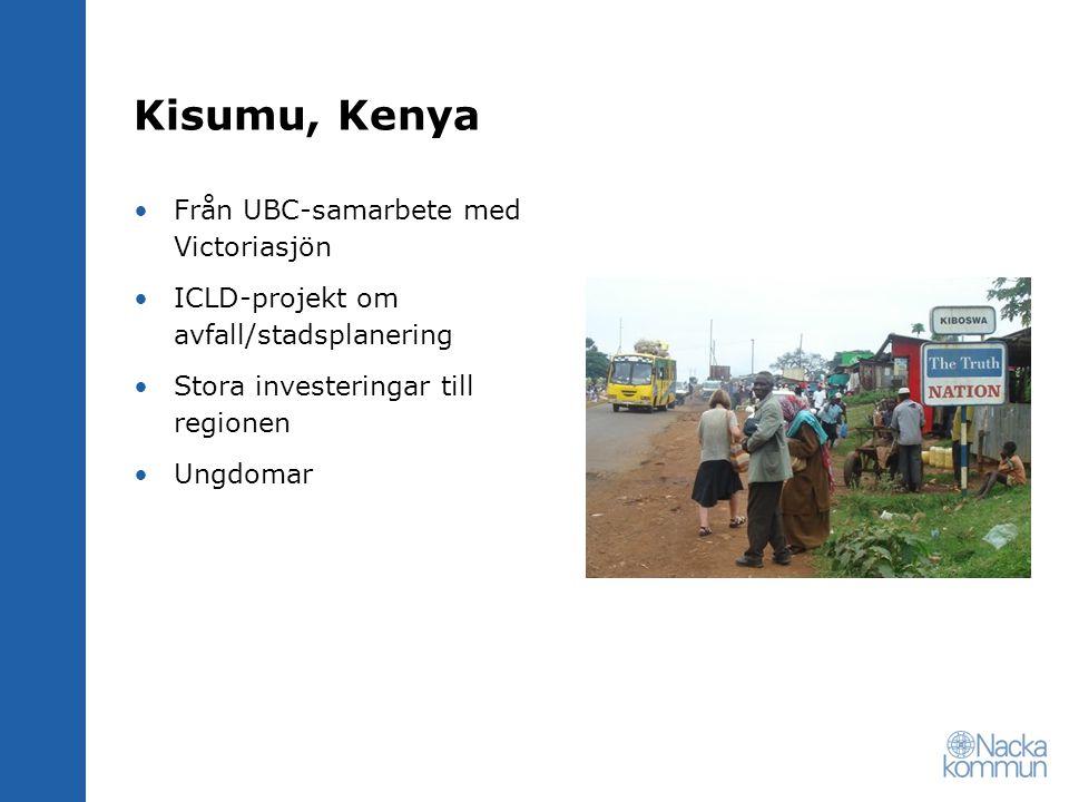 Kisumu, Kenya Från UBC-samarbete med Victoriasjön ICLD-projekt om avfall/stadsplanering Stora investeringar till regionen Ungdomar