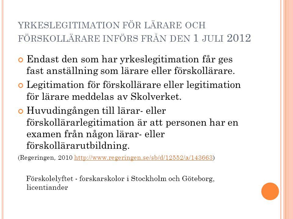 YRKESLEGITIMATION FÖR LÄRARE OCH FÖRSKOLLÄRARE INFÖRS FRÅN DEN 1 JULI 2012 Endast den som har yrkeslegitimation får ges fast anställning som lärare el