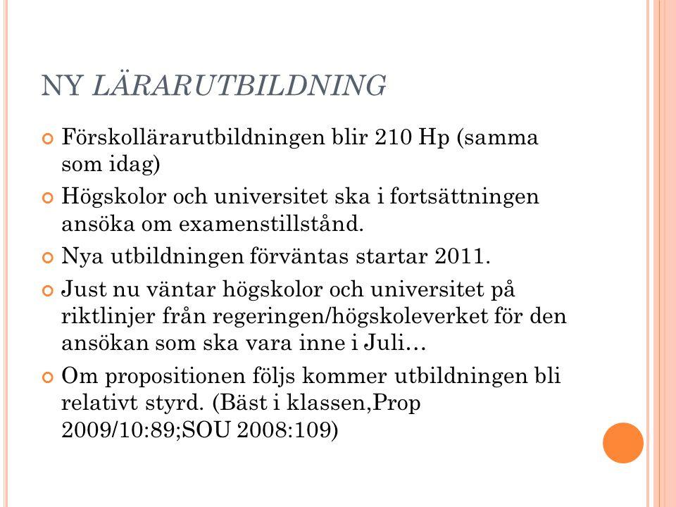 NY LÄRARUTBILDNING Förskollärarutbildningen blir 210 Hp (samma som idag) Högskolor och universitet ska i fortsättningen ansöka om examenstillstånd. Ny
