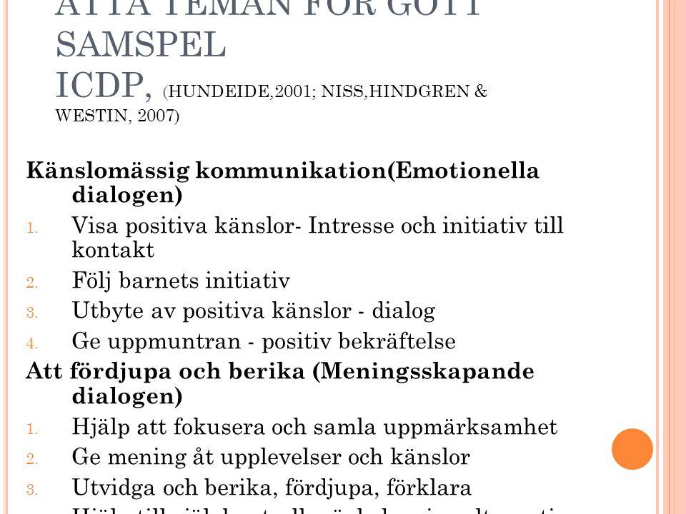 ÅTTA TEMAN FÖR GOTT SAMSPEL ICDP, (HUNDEIDE,2001; NISS,HINDGREN & WESTIN, 2007) Känslomässig kommunikation(Emotionella dialogen) 1. Visa positiva käns