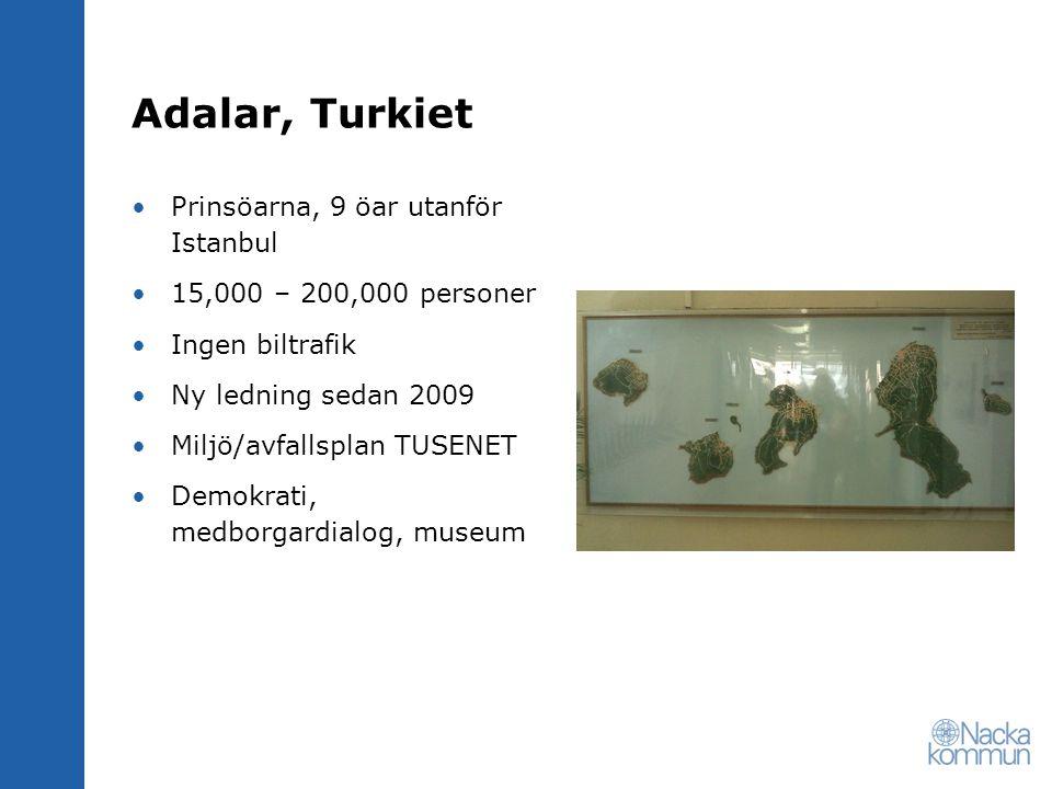 Adalar, Turkiet Prinsöarna, 9 öar utanför Istanbul 15,000 – 200,000 personer Ingen biltrafik Ny ledning sedan 2009 Miljö/avfallsplan TUSENET Demokrati, medborgardialog, museum