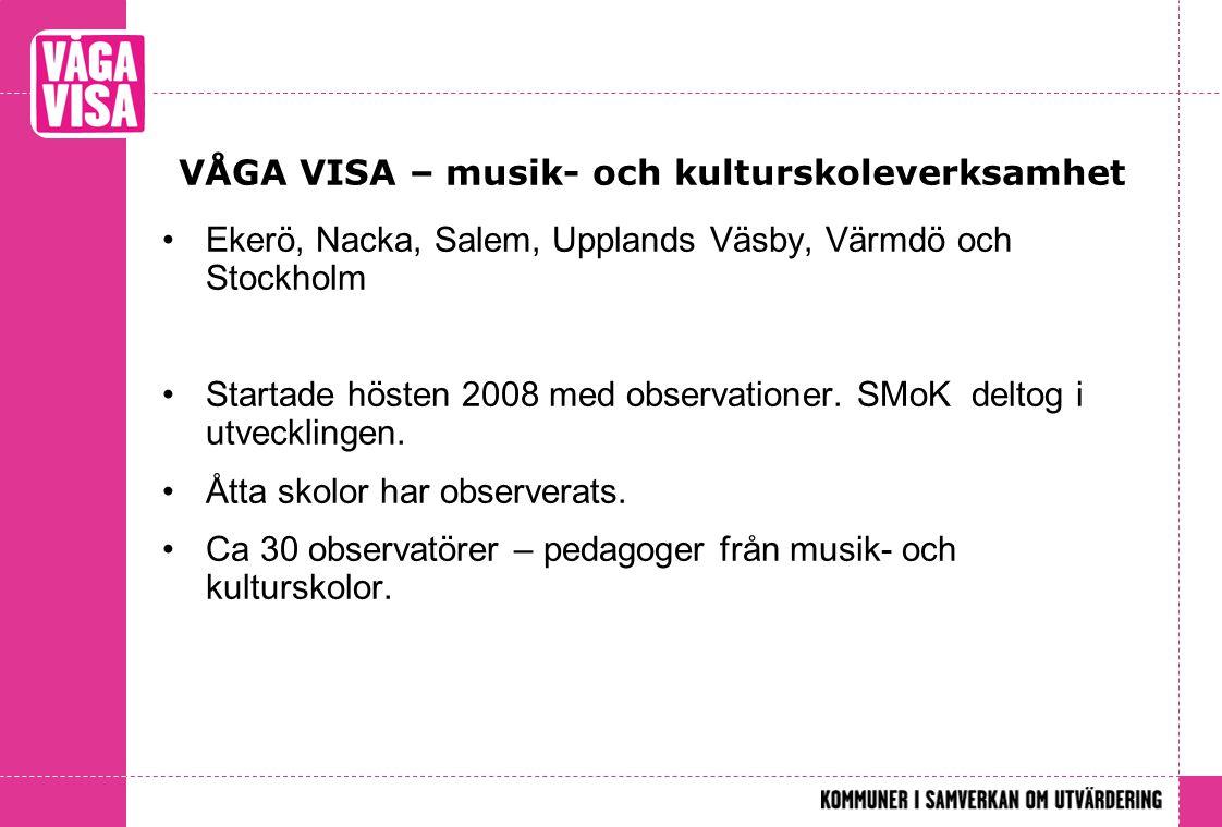 VÅGA VISA – musik- och kulturskoleverksamhet Ekerö, Nacka, Salem, Upplands Väsby, Värmdö och Stockholm Startade hösten 2008 med observationer. SMoK de
