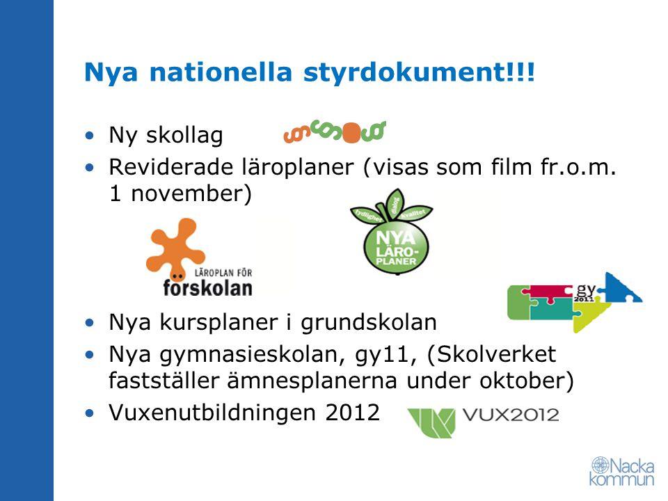 Nya nationella styrdokument!!! Ny skollag Reviderade läroplaner (visas som film fr.o.m. 1 november) Nya kursplaner i grundskolan Nya gymnasieskolan, g
