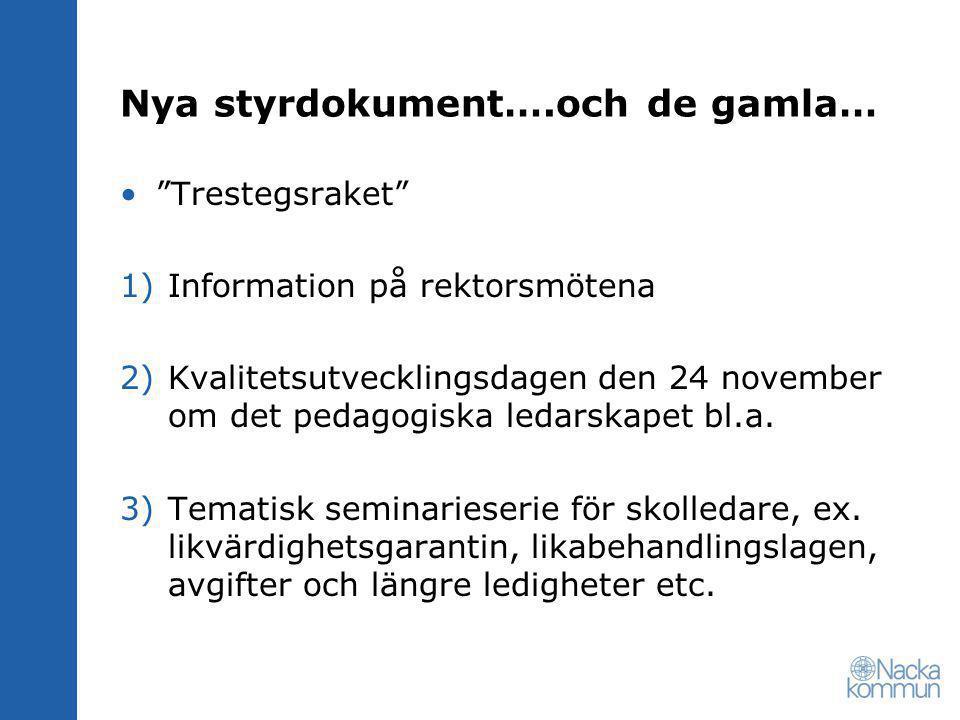Nya styrdokument….och de gamla… Trestegsraket 1)Information på rektorsmötena 2)Kvalitetsutvecklingsdagen den 24 november om det pedagogiska ledarskapet bl.a.
