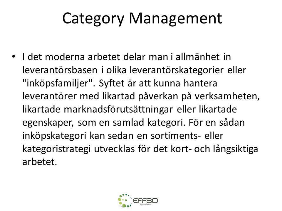 Category Management I det moderna arbetet delar man i allmänhet in leverantörsbasen i olika leverantörskategorier eller inköpsfamiljer .