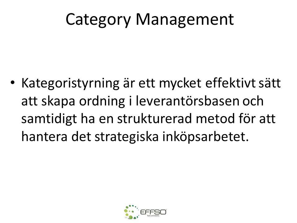 Category Management Kategoristyrning är ett mycket effektivt sätt att skapa ordning i leverantörsbasen och samtidigt ha en strukturerad metod för att hantera det strategiska inköpsarbetet.