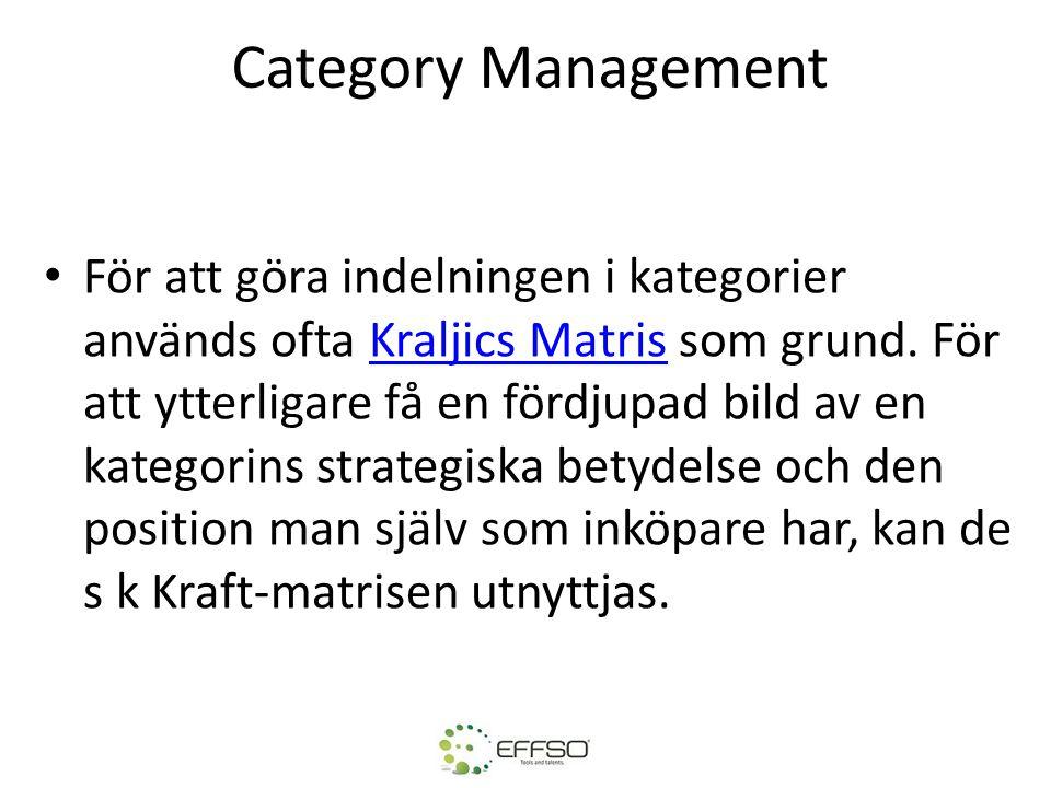 Category Management För att göra indelningen i kategorier används ofta Kraljics Matris som grund. För att ytterligare få en fördjupad bild av en kateg