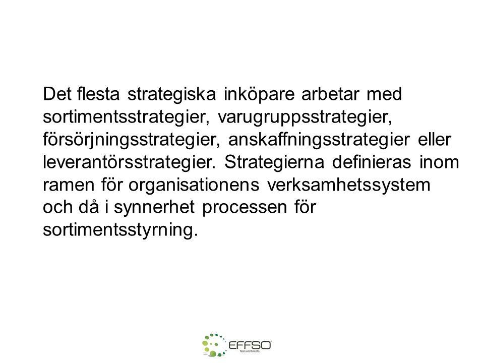 Det flesta strategiska inköpare arbetar med sortimentsstrategier, varugruppsstrategier, försörjningsstrategier, anskaffningsstrategier eller leverantörsstrategier.