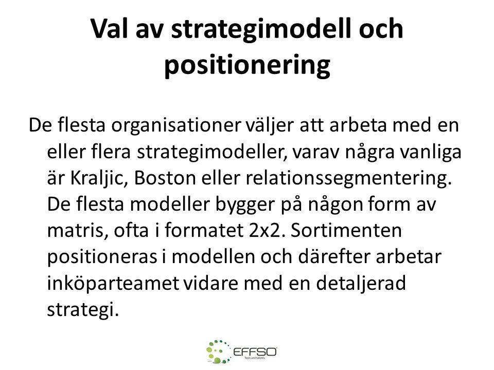 Val av strategimodell och positionering De flesta organisationer väljer att arbeta med en eller flera strategimodeller, varav några vanliga är Kraljic, Boston eller relationssegmentering.