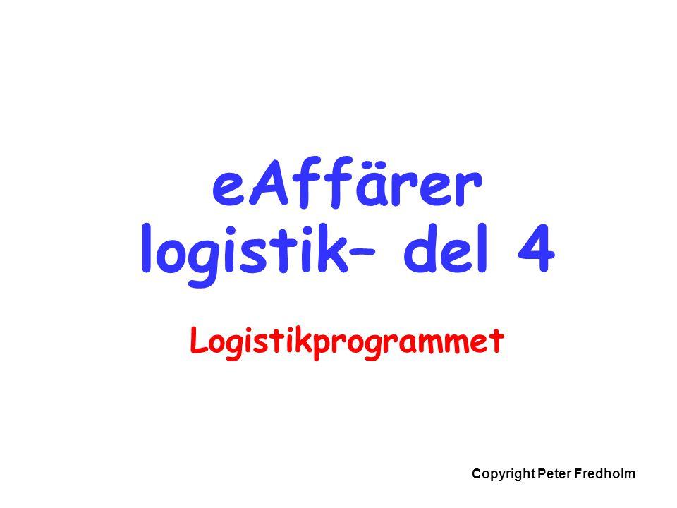 Copyright Peter Fredholm eAffärer logistik– del 4 Logistikprogrammet