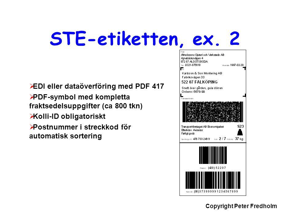 Copyright Peter Fredholm  EDI eller dataöverföring med PDF 417  PDF-symbol med kompletta fraktsedelsuppgifter (ca 800 tkn)  Kolli-ID obligatoriskt