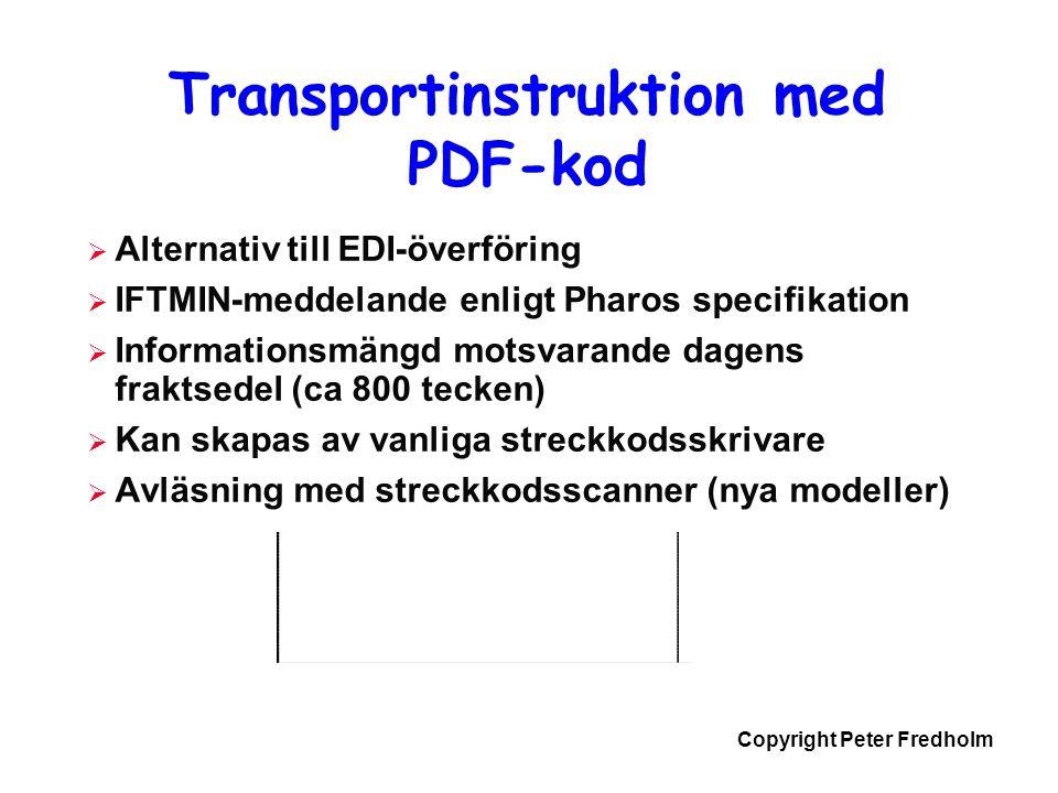 Copyright Peter Fredholm Transportinstruktion med PDF-kod  Alternativ till EDI-överföring  IFTMIN-meddelande enligt Pharos specifikation  Informati