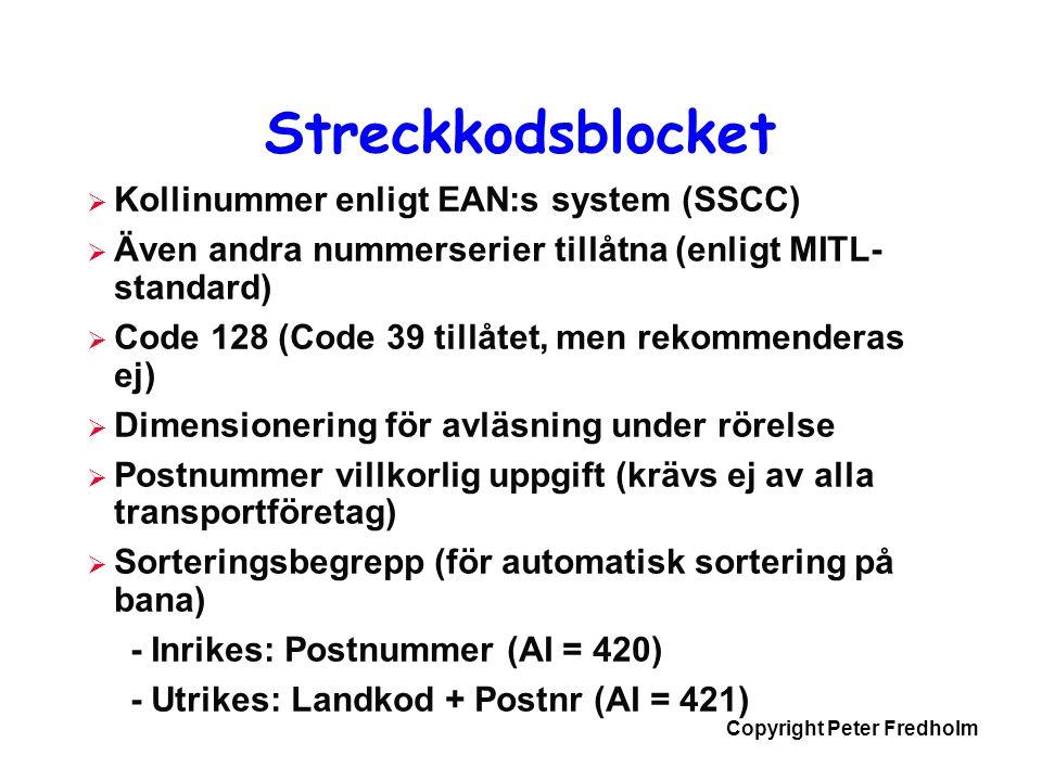 Copyright Peter Fredholm Streckkodsblocket  Kollinummer enligt EAN:s system (SSCC)  Även andra nummerserier tillåtna (enligt MITL- standard)  Code