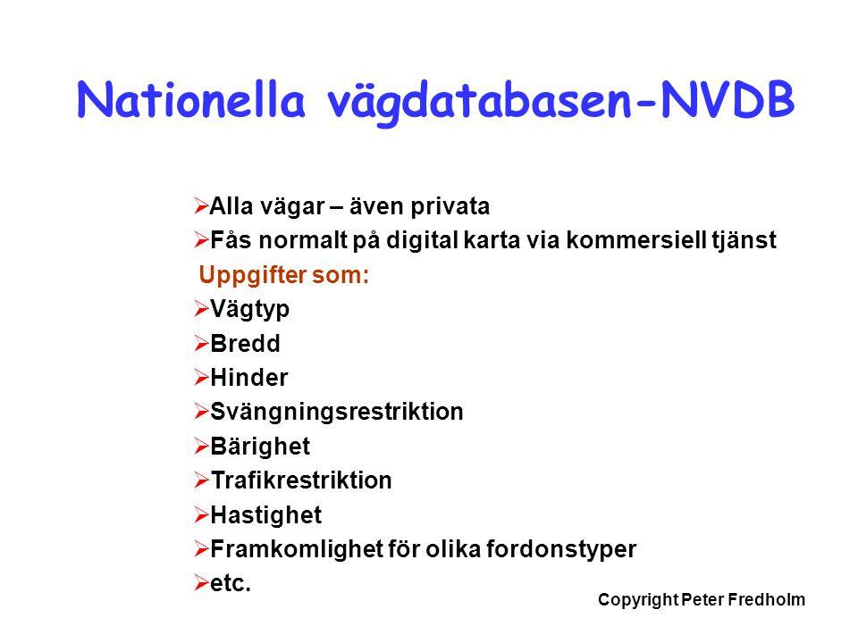 Copyright Peter Fredholm Nationella vägdatabasen-NVDB  Alla vägar – även privata  Fås normalt på digital karta via kommersiell tjänst Uppgifter som: