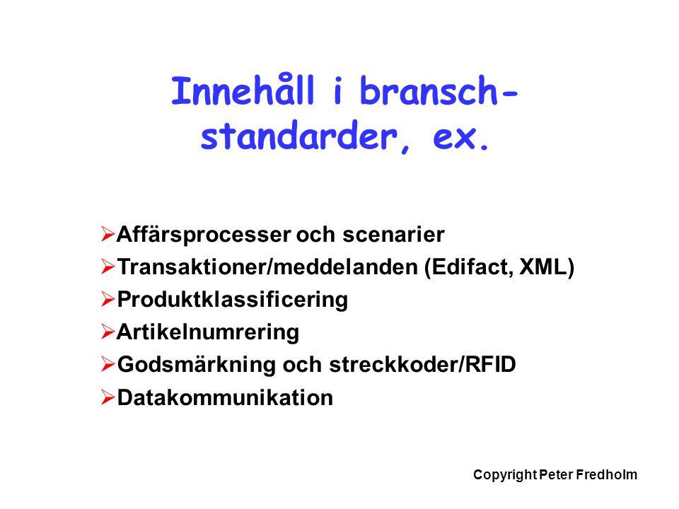 Copyright Peter Fredholm  Affärsprocesser och scenarier  Transaktioner/meddelanden (Edifact, XML)  Produktklassificering  Artikelnumrering  Godsm