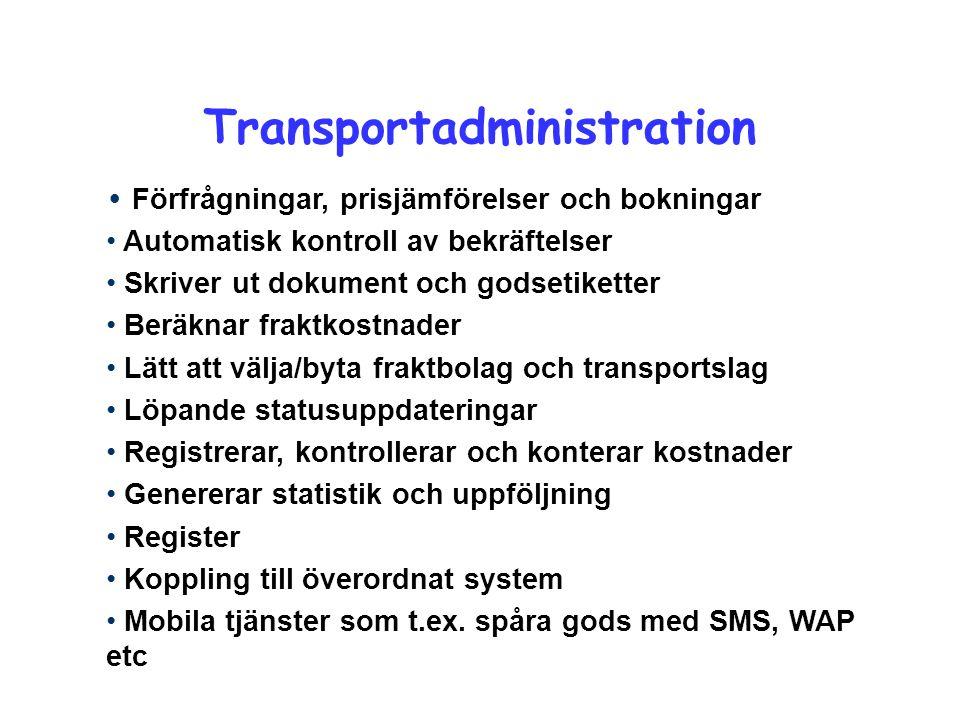 Transportadministration Förfrågningar, prisjämförelser och bokningar Automatisk kontroll av bekräftelser Skriver ut dokument och godsetiketter Beräkna