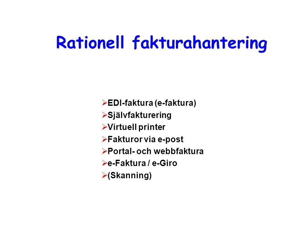 Rationell fakturahantering  EDI-faktura (e-faktura)  Självfakturering  Virtuell printer  Fakturor via e-post  Portal- och webbfaktura  e-Faktura