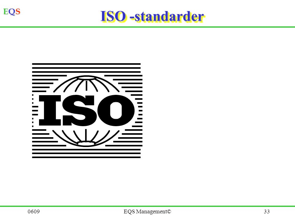 EQSEQSEQSEQS 0609EQS Management©32 Verksamhetsledning 3 Styrning Förbättring Betydande aspekter Tre viktiga komponenter i ledningen