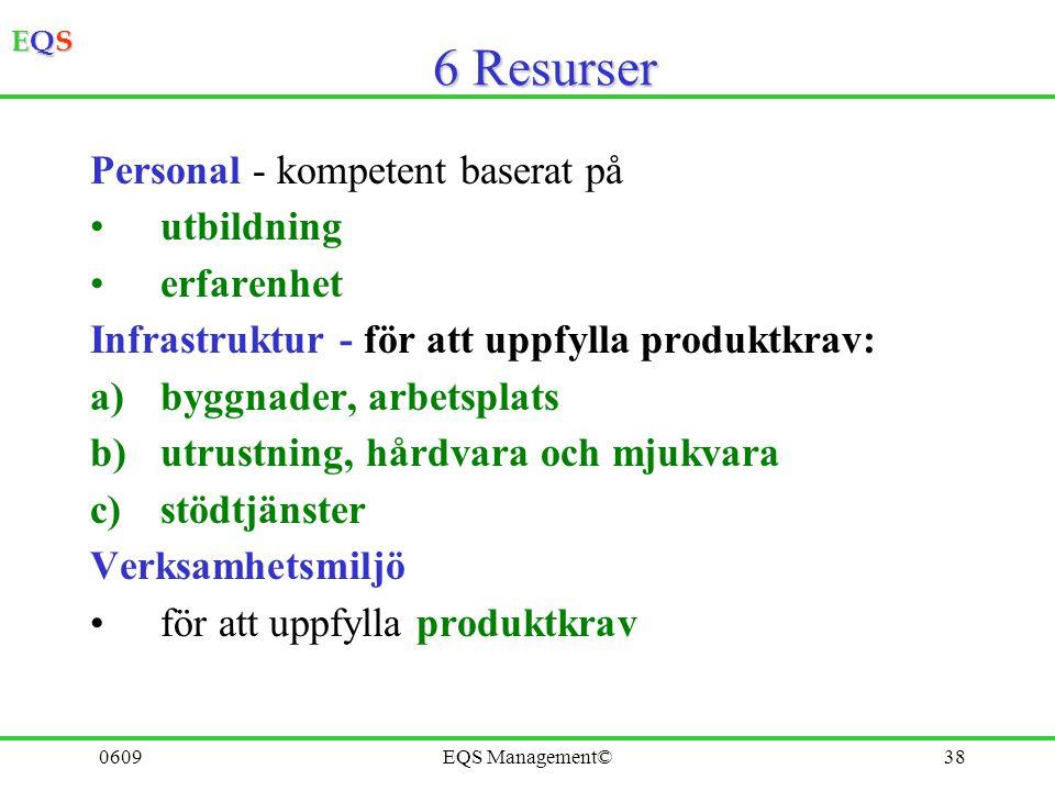 EQSEQSEQSEQS 0609EQS Management©37 5 Ledningens ansvar 5.1 Ledningens åtagande 5.2 Kundfokus 5.3 Kvalitetspolicy 5.4 Mål. Planering 5.5 Ansvar, befoge