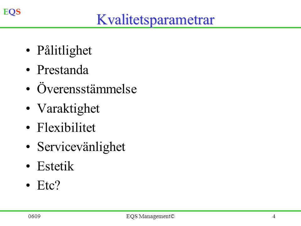 EQSEQSEQSEQS 0609EQS Management©14 Engagerad personal Process- syn Fakta baserade besluts- processer Ständiga förbättringar System- metodik för ledning Kund- fokuserad organisation Ömsesidigt utbyte för partners Ledarskap TQMTQM 8 Grundläggande kvalitetsprinciper = Total Quality Management