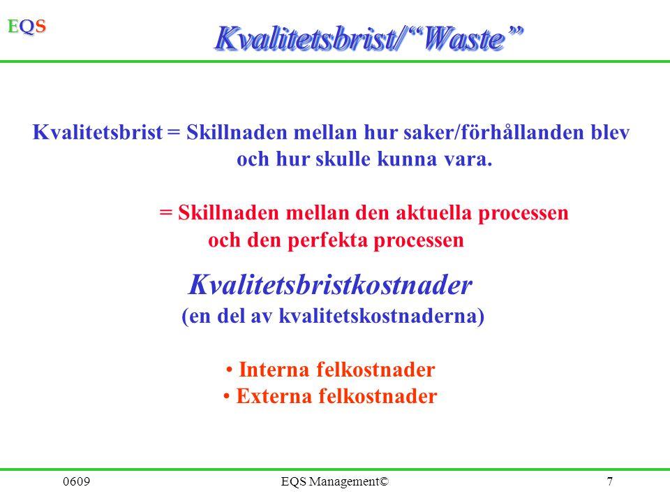 EQSEQSEQSEQS 0609EQS Management©7 Kvalitetsbrist/ Waste Kvalitetsbrist/ Waste Kvalitetsbrist = Skillnaden mellan hur saker/förhållanden blev och hur skulle kunna vara.