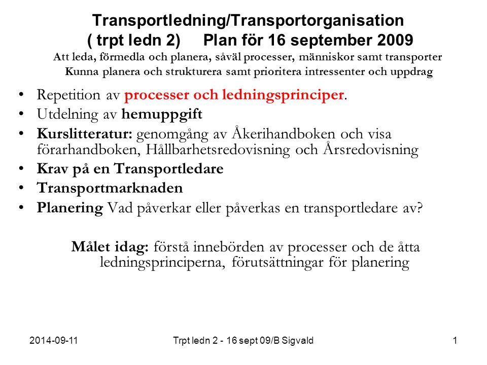 2014-09-11Trpt ledn 2 - 16 sept 09/B Sigvald1 Transportledning/Transportorganisation ( trpt ledn 2) Plan för 16 september 2009 Att leda, förmedla och