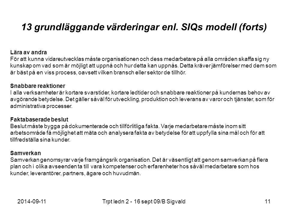 2014-09-11Trpt ledn 2 - 16 sept 09/B Sigvald11 13 grundläggande värderingar enl. SIQs modell (forts) Lära av andra För att kunna vidareutvecklas måste
