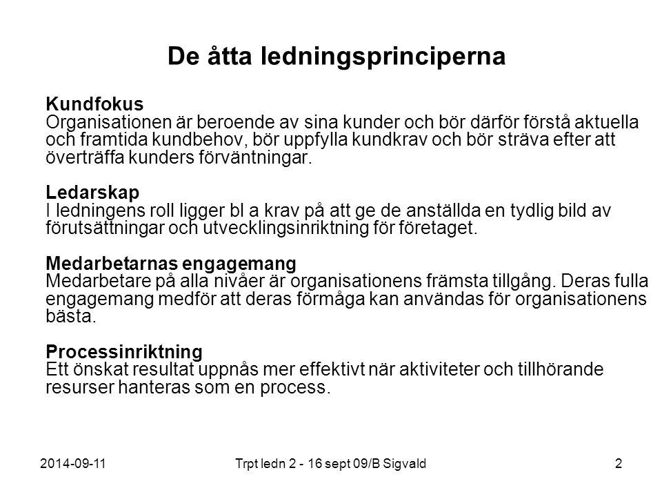 2014-09-11Trpt ledn 2 - 16 sept 09/B Sigvald2 De åtta ledningsprinciperna Kundfokus Organisationen är beroende av sina kunder och bör därför förstå ak
