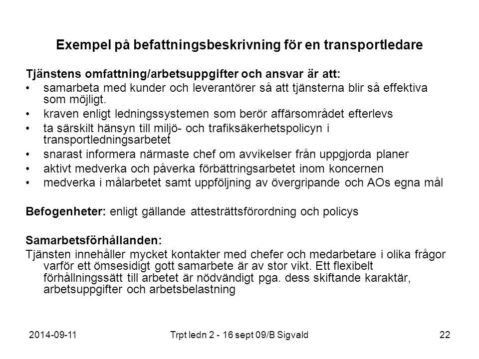 2014-09-11Trpt ledn 2 - 16 sept 09/B Sigvald22 Exempel på befattningsbeskrivning för en transportledare Tjänstens omfattning/arbetsuppgifter och ansva