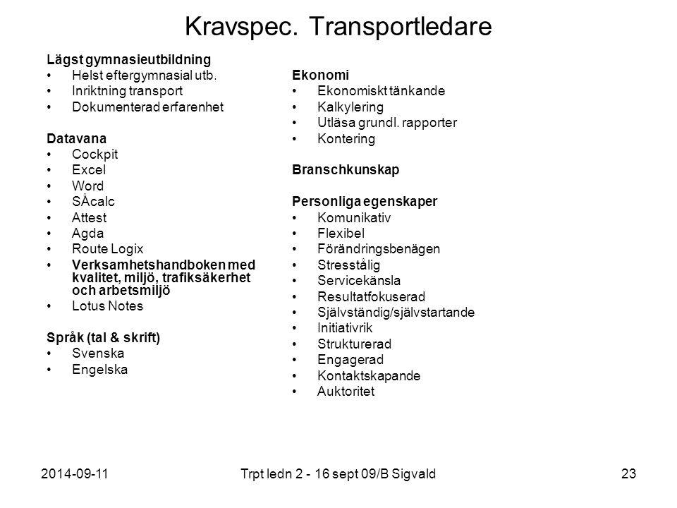 2014-09-11Trpt ledn 2 - 16 sept 09/B Sigvald23 Kravspec. Transportledare Lägst gymnasieutbildning Helst eftergymnasial utb. Inriktning transport Dokum