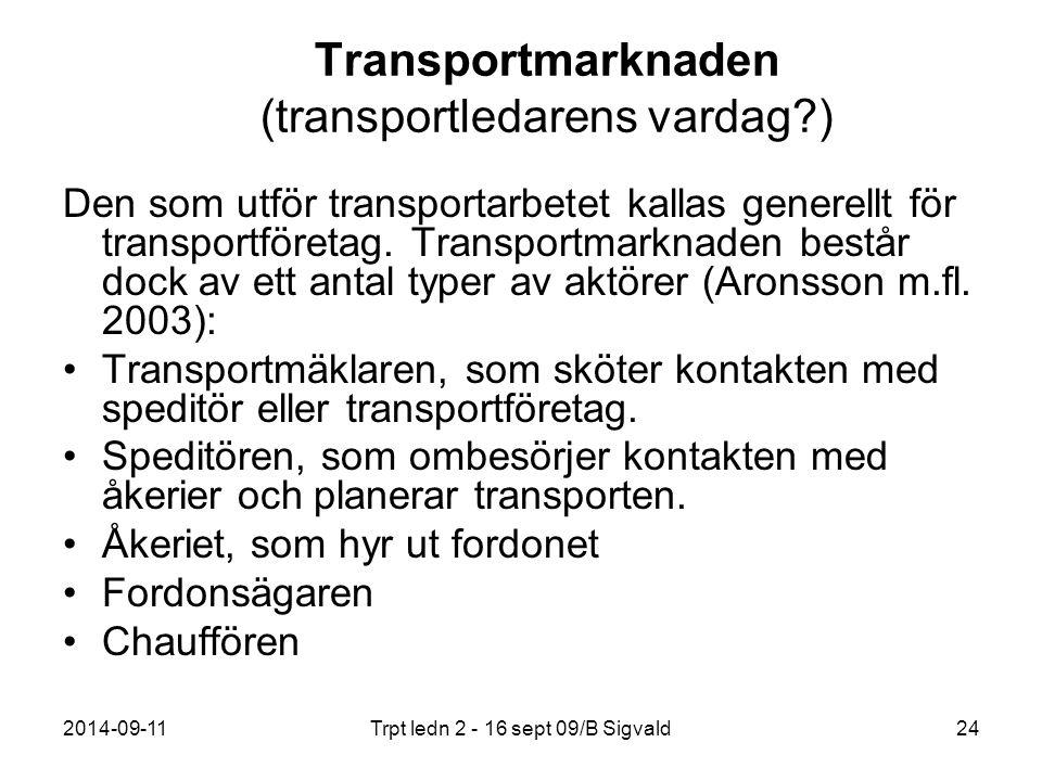 2014-09-11Trpt ledn 2 - 16 sept 09/B Sigvald24 Transportmarknaden (transportledarens vardag?) Den som utför transportarbetet kallas generellt för tran