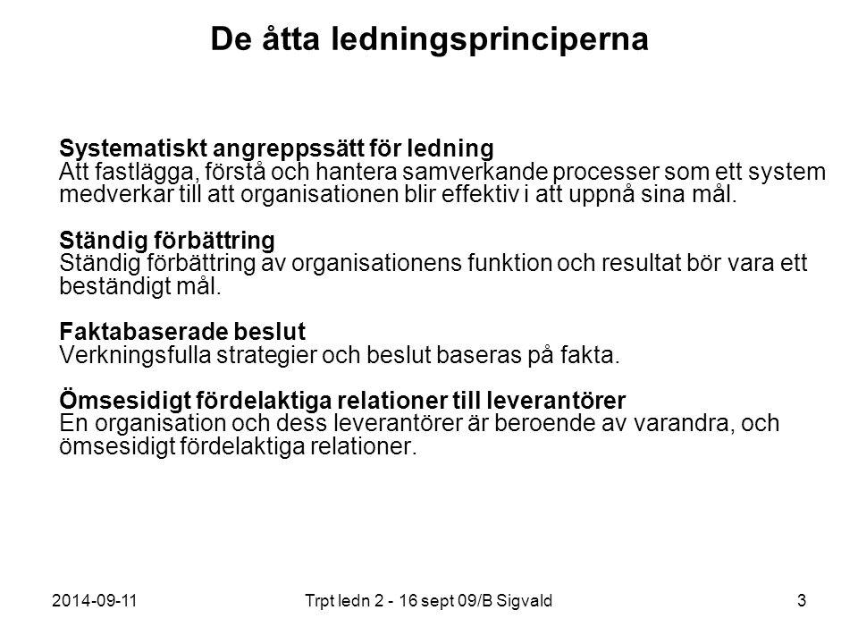 2014-09-11Trpt ledn 2 - 16 sept 09/B Sigvald3 De åtta ledningsprinciperna Systematiskt angreppssätt för ledning Att fastlägga, förstå och hantera samv