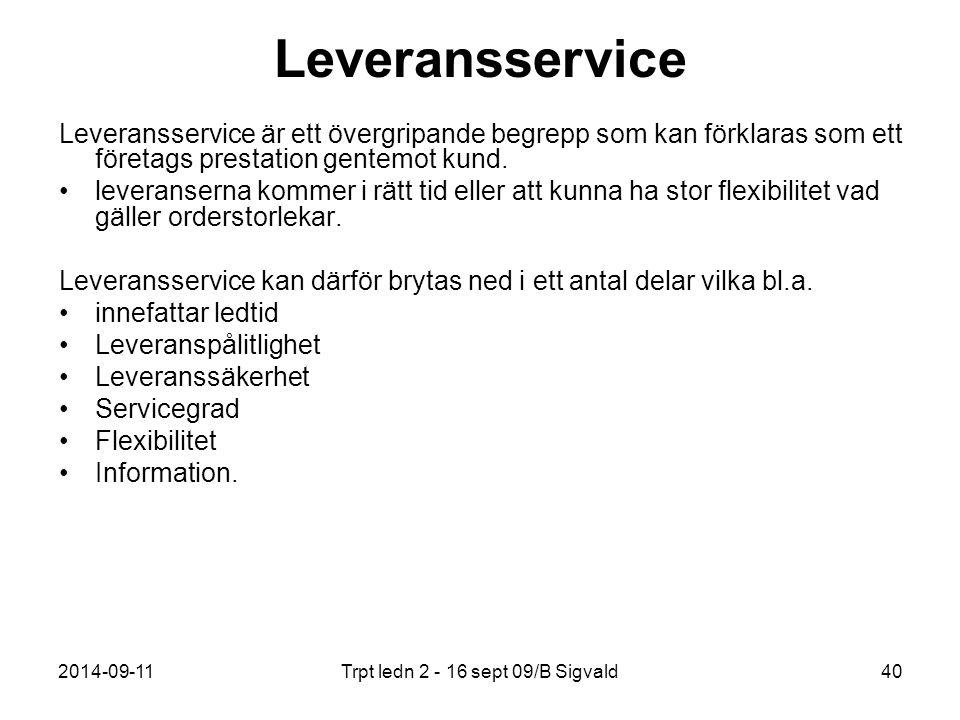 2014-09-11Trpt ledn 2 - 16 sept 09/B Sigvald40 Leveransservice Leveransservice är ett övergripande begrepp som kan förklaras som ett företags prestati