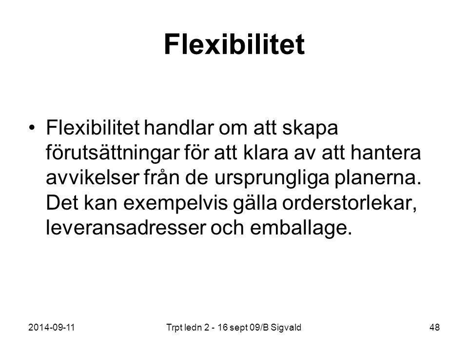 2014-09-11Trpt ledn 2 - 16 sept 09/B Sigvald48 Flexibilitet Flexibilitet handlar om att skapa förutsättningar för att klara av att hantera avvikelser