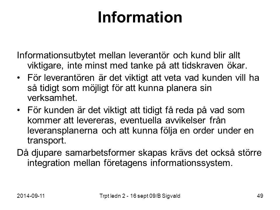 2014-09-11Trpt ledn 2 - 16 sept 09/B Sigvald49 Information Informationsutbytet mellan leverantör och kund blir allt viktigare, inte minst med tanke på
