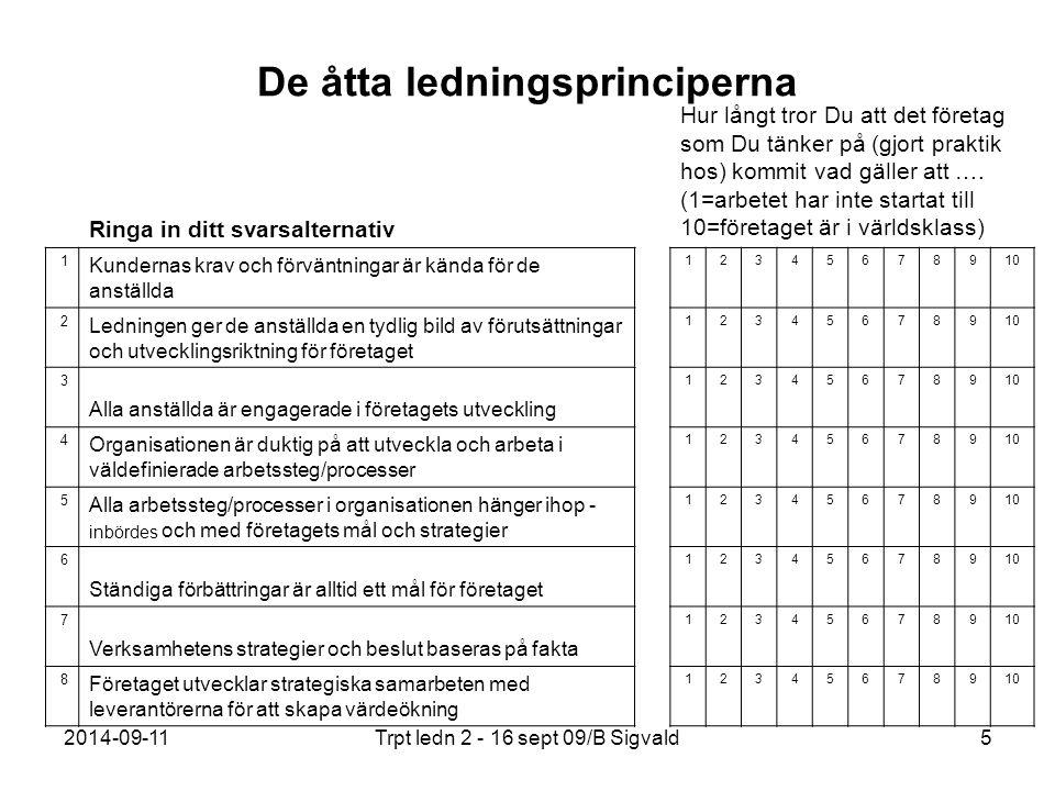 2014-09-11Trpt ledn 2 - 16 sept 09/B Sigvald46 Leveranssäkerhet Leveranssäkerhet är att kunna leverera rätt vara i rätt mängd med rätt kvalitet.