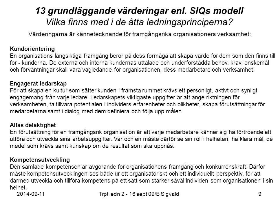 2014-09-11Trpt ledn 2 - 16 sept 09/B Sigvald10 13 grundläggande värderingar enl.