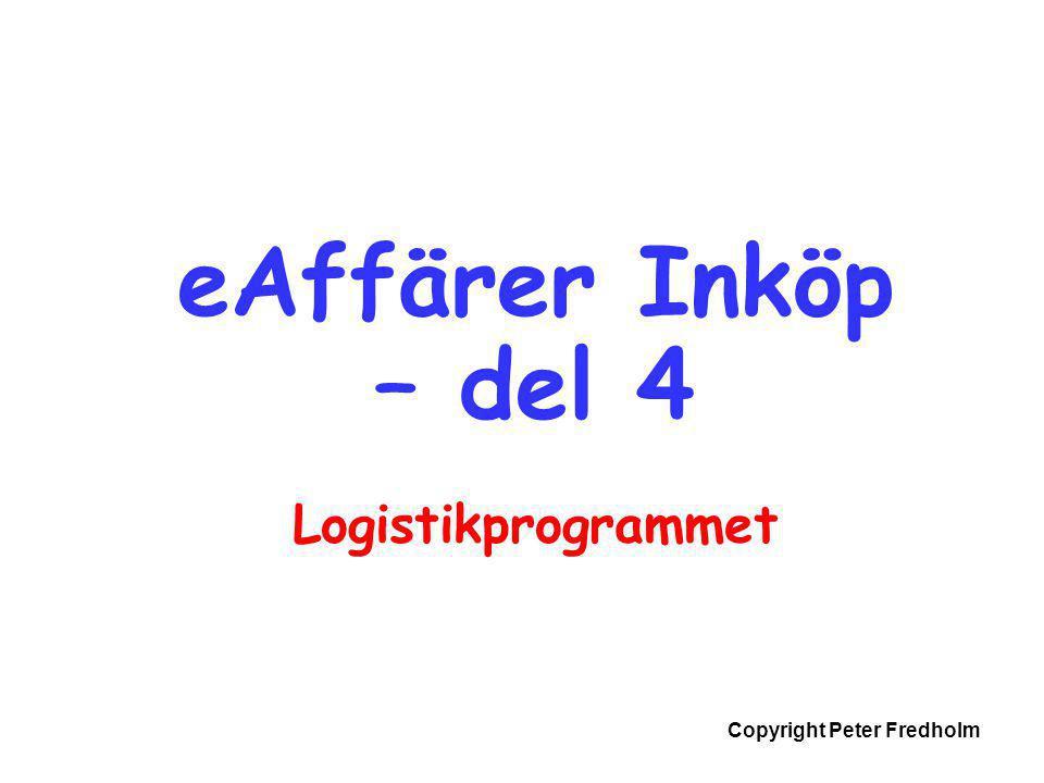 Copyright Peter Fredholm eAffärer Inköp – del 4 Logistikprogrammet
