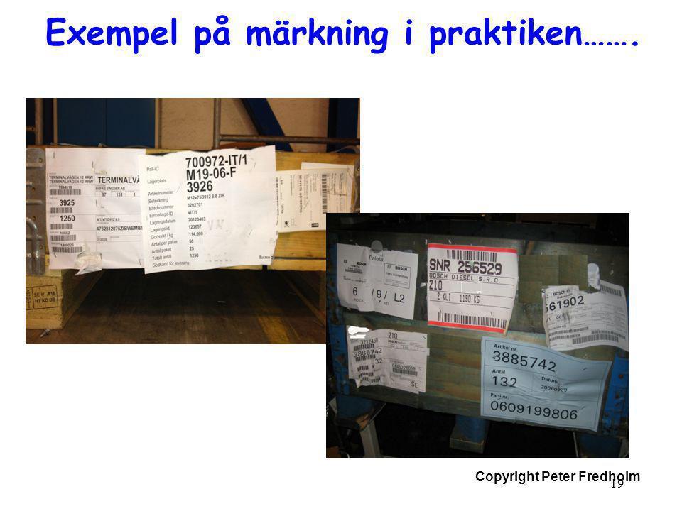 Copyright Peter Fredholm Exempel på märkning i praktiken……. 19
