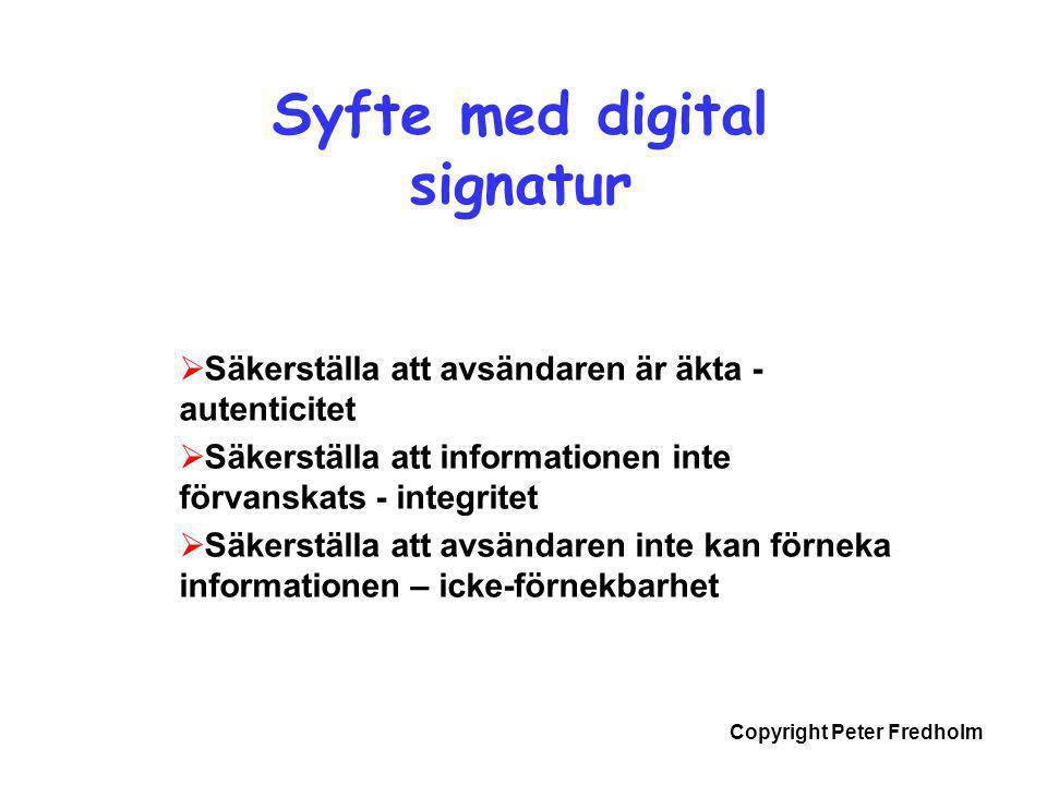 Copyright Peter Fredholm Syfte med digital signatur  Säkerställa att avsändaren är äkta - autenticitet  Säkerställa att informationen inte förvanska