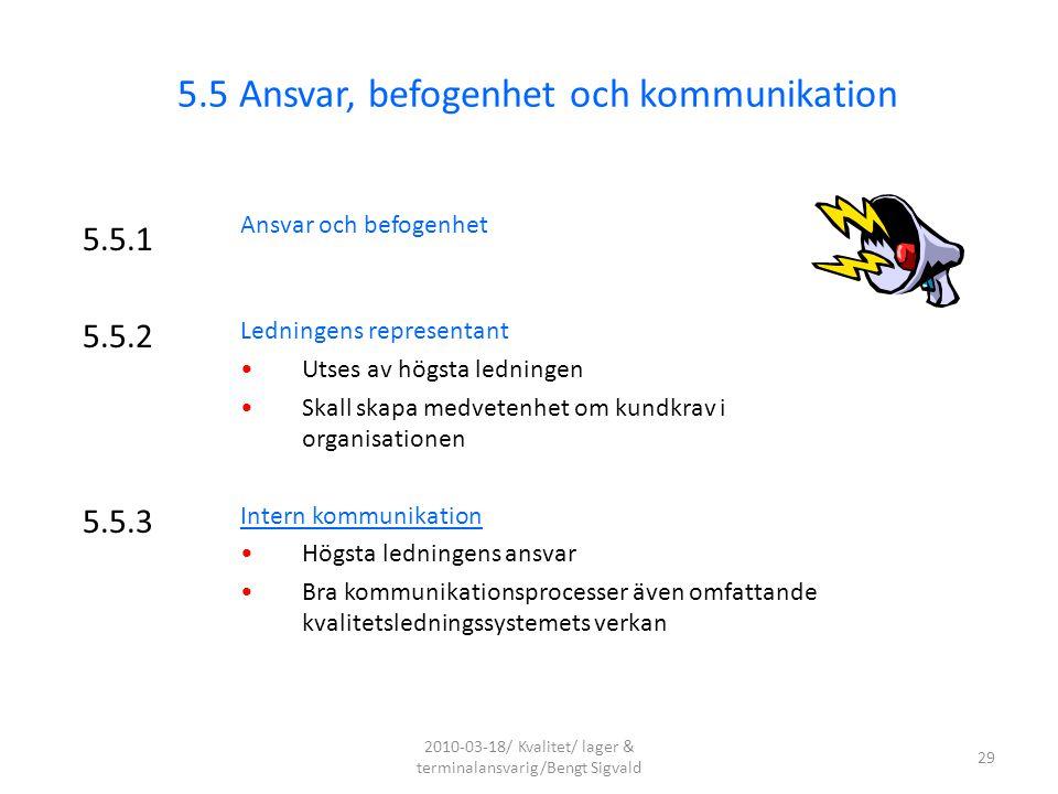 5.5.1 Ansvar och befogenhet Ledningens representant Utses av högsta ledningen Skall skapa medvetenhet om kundkrav i organisationen Intern kommunikatio