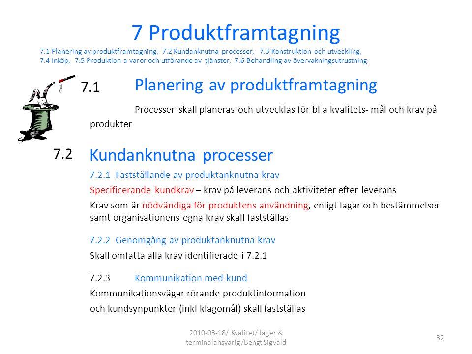 Planering av produktframtagning Processer skall planeras och utvecklas för bl a kvalitets- mål och krav på produkter Kundanknutna processer 7.2.1 Fast