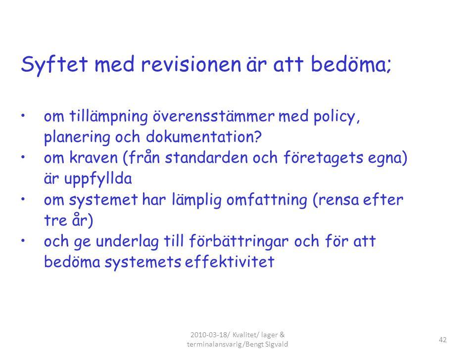 Syftet med revisionen är att bedöma; om tillämpning överensstämmer med policy, planering och dokumentation? om kraven (från standarden och företagets