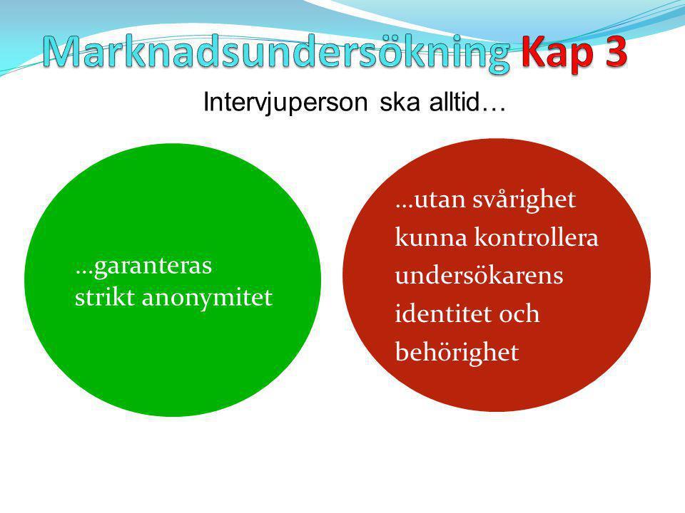…garanteras strikt anonymitet …utan svårighet kunna kontrollera undersökarens identitet och behörighet