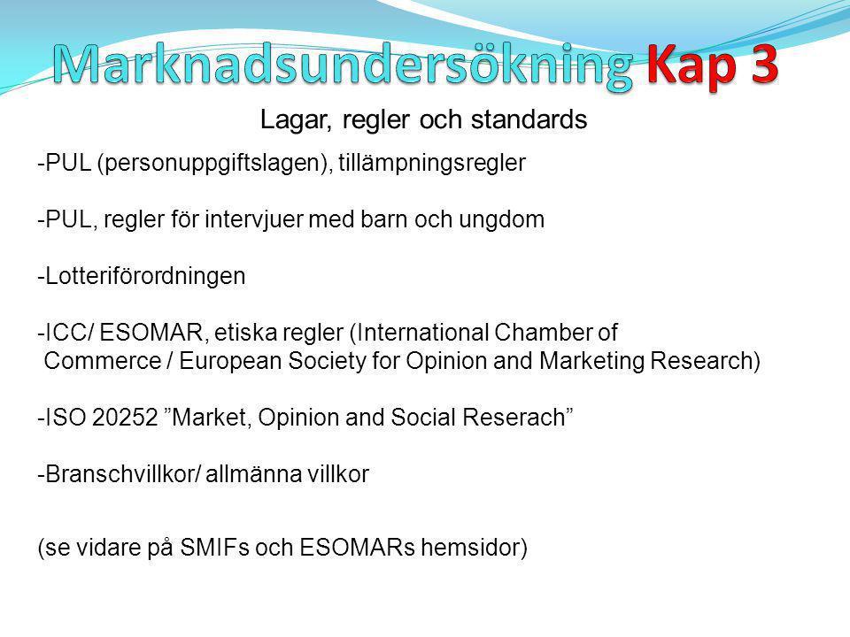 Lagar, regler och standards -PUL (personuppgiftslagen), tillämpningsregler -PUL, regler för intervjuer med barn och ungdom -Lotteriförordningen -ICC/ ESOMAR, etiska regler (International Chamber of Commerce / European Society for Opinion and Marketing Research) -ISO 20252 Market, Opinion and Social Reserach -Branschvillkor/ allmänna villkor (se vidare på SMIFs och ESOMARs hemsidor)