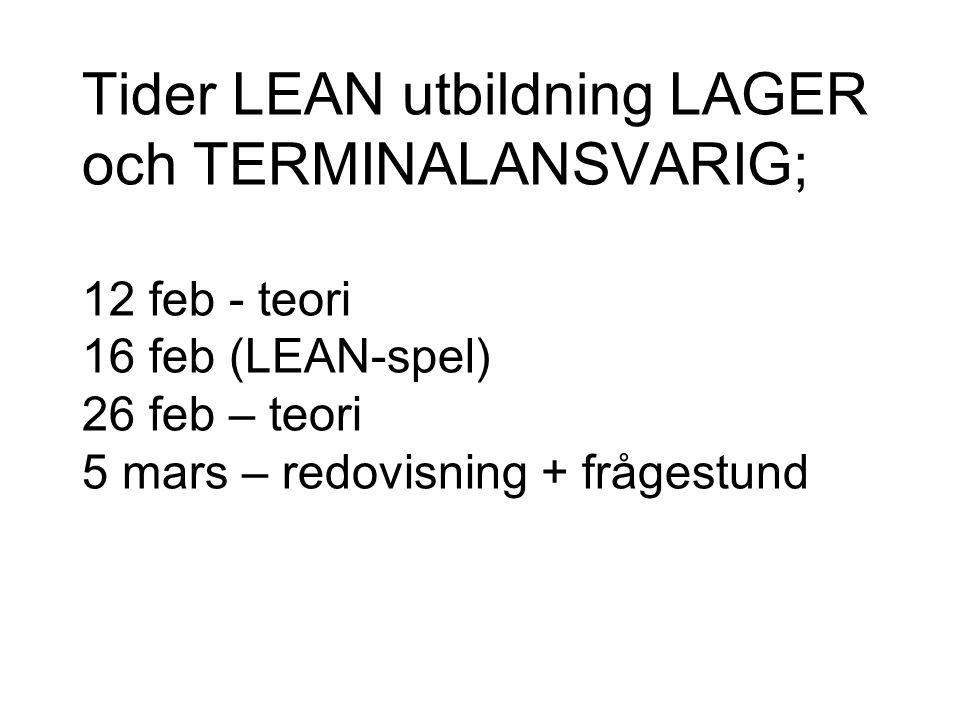 Tider LEAN utbildning LAGER och TERMINALANSVARIG; 12 feb - teori 16 feb (LEAN-spel) 26 feb – teori 5 mars – redovisning + frågestund