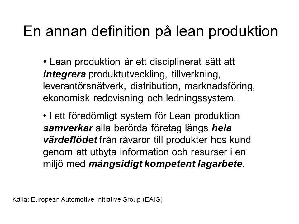 En annan definition på lean produktion Lean produktion är ett disciplinerat sätt att integrera produktutveckling, tillverkning, leverantörsnätverk, distribution, marknadsföring, ekonomisk redovisning och ledningssystem.