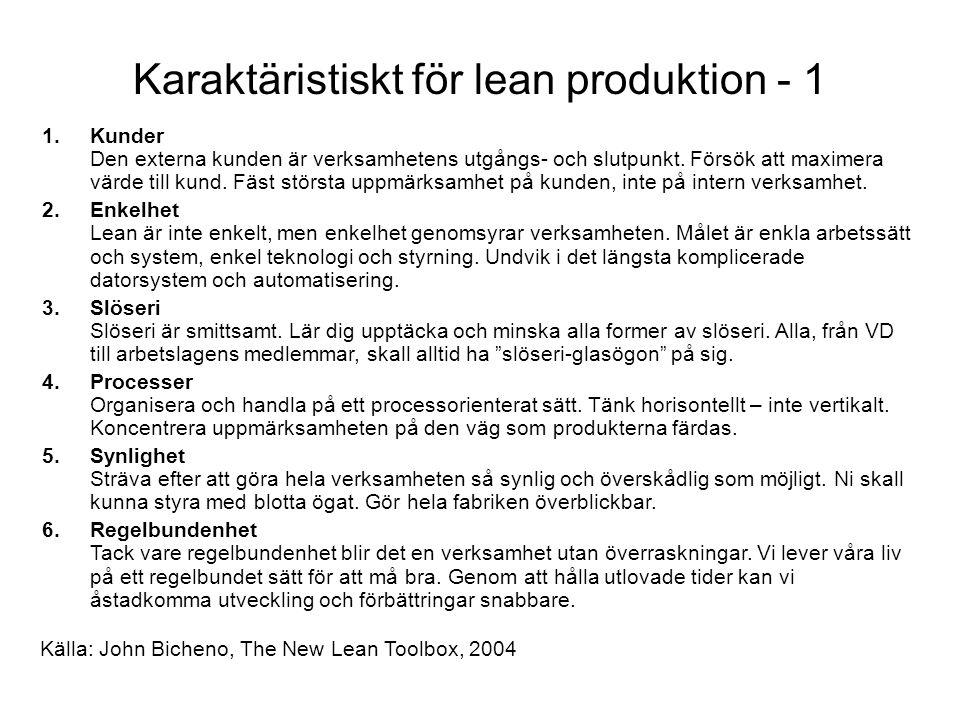 Karaktäristiskt för lean produktion - 1 1.Kunder Den externa kunden är verksamhetens utgångs- och slutpunkt.