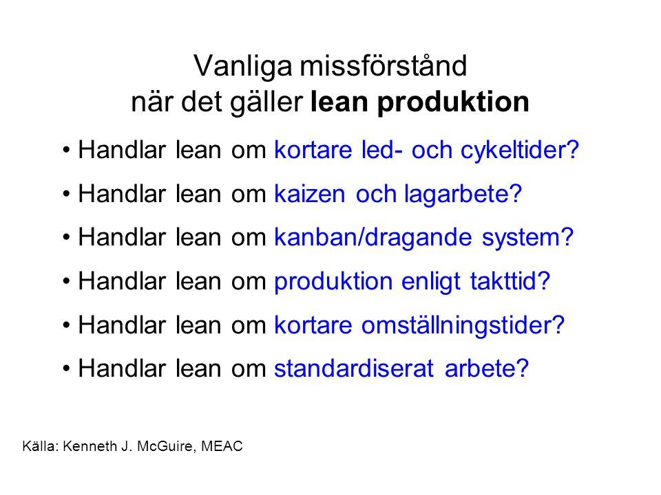 Vanliga missförstånd när det gäller lean produktion Handlar lean om kortare led- och cykeltider.