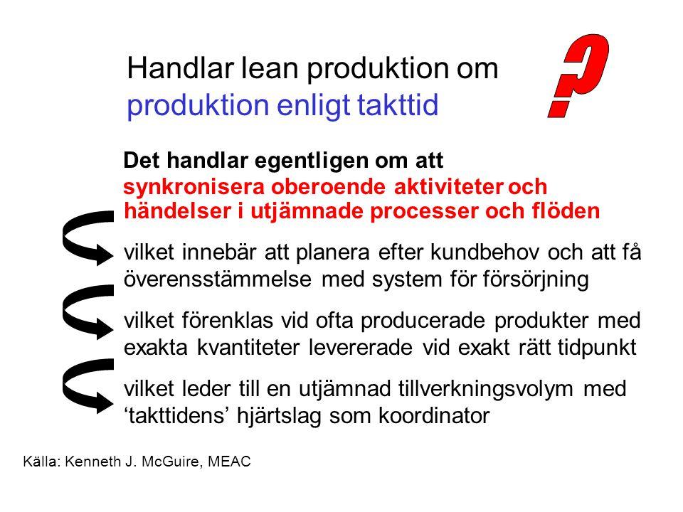 Handlar lean produktion om produktion enligt takttid Det handlar egentligen om att synkronisera oberoende aktiviteter och händelser i utjämnade processer och flöden vilket innebär att planera efter kundbehov och att få överensstämmelse med system för försörjning vilket förenklas vid ofta producerade produkter med exakta kvantiteter levererade vid exakt rätt tidpunkt vilket leder till en utjämnad tillverkningsvolym med 'takttidens' hjärtslag som koordinator Källa: Kenneth J.